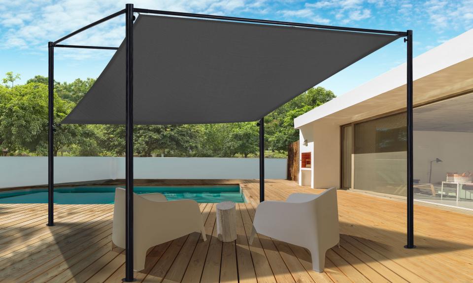 Pergola toit orientable et personnalisable 3 x 3 m ombrière grise