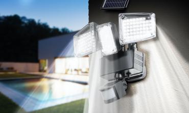 Projecteur LED solaire 3 têtes
