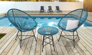Ensemble de jardin Ibiza bleu